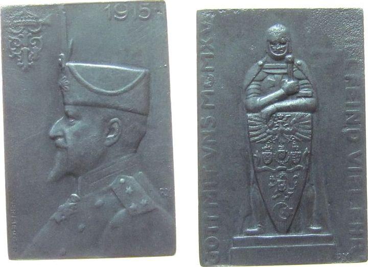 Plakette 1915 Türkei Zinn Ferdinand I (1861-1948) von Bulgarien nach links - auf das Waffenbündnis, Krieger mit Wappenschild und den Wappen von Deuts vz