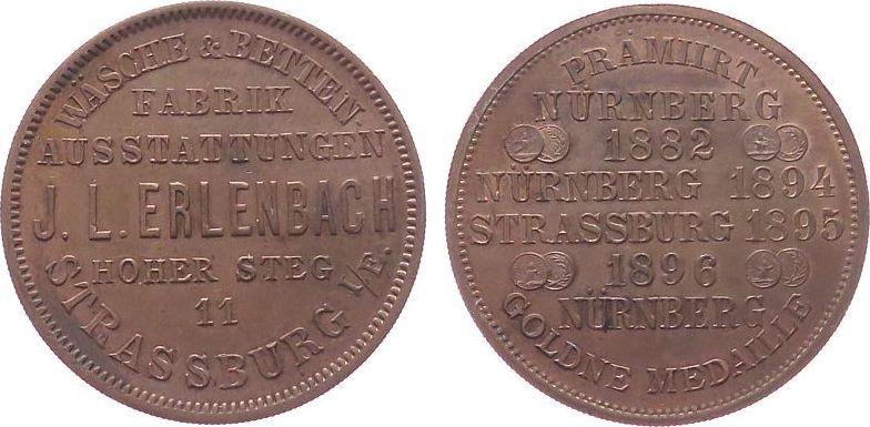 Werbemarke o.J. Frankreich Kupfer Erlenbach J.L. (Strassburg) - Wäsche- und Bettenfabrik, ca. 29 MM vz