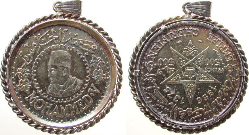 Anhänger 1956 Marokko Silber Mohammed V - 500 Dinar 1956, kordelförmige Fassung, herrliche Patina, ca. 41,5 MM, ca. 28.18 Gramm stgl-