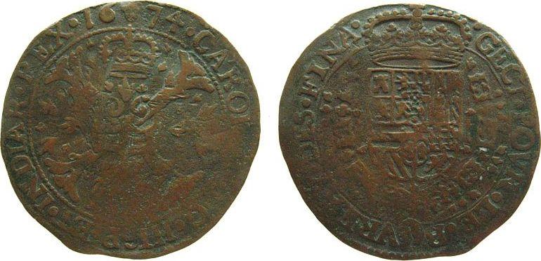 Rechenpfennig 1674 Niederlande Kupfer Karl II von Spanien (1665-1700), Brüssel, Finanzkammer, gekrönter mehrfeldiger Wappenschild, behängt mit der Vliesordenke schön