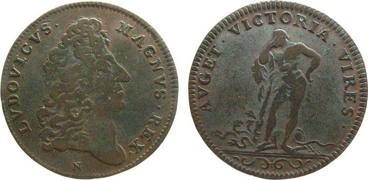 Jeton o.J. Frankreich Kupfer Louis XIV, Büste nach rechts - LVDOVICVS MAGNVS REX / Herkules, sich auf seine Keule abstützend - AVGET.VICTORIA.VIRES., ss-