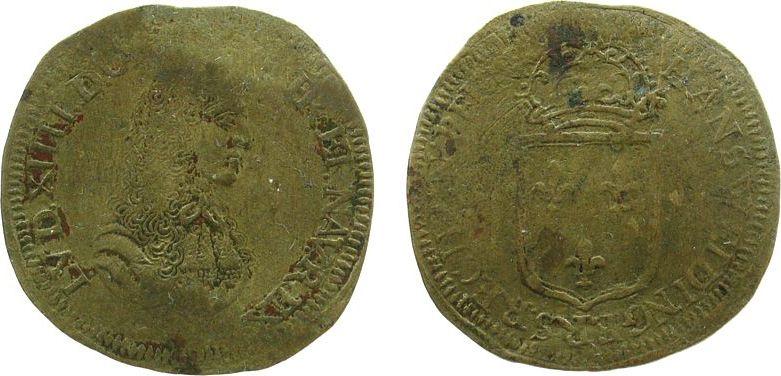 Rechenpfennig o.J. Jetons Messing Weidinger Hans, Büste Louis XIV, Wappen, ca. 26 MM schön