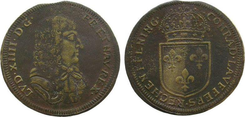Rechenpfennig o.J. Jetons Messing Laufer Conrad (1637-1668), Büste Louis XIII / gekröntes Lilienschild - CONRAD LAVFFERS RECHENPFENNIG, ca. 28,5 MM ss