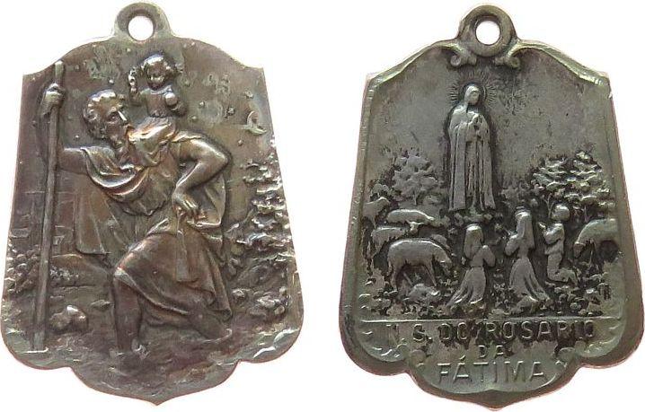 Anhänger o.J. Wallfahrt Bronze versilbert Fatima, ca. 19 x 25,2 MM ss