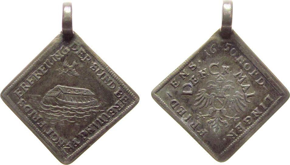 Silberabschlag der Dukatenklippe 1650 vor 1914 Silber Nördlingen - auf den Westfälischen Frieden, Taube über Arche Noah / Doppeladler, ca. 22,8 MM, ca. 2,93 Gramm, gehenkelt ss+