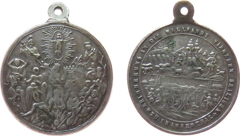 tragbare Medaille o.J. Wallfahrt Weissmetall Frankenthal - Erinnerung an die Wallfahrt vierzehn Heiligen, Bad Staffelstein, ca. 22 MM ss