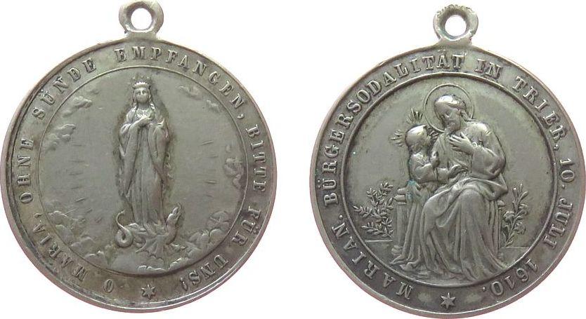 tragbare Medaille o.J. Reformation / Religion Weissmetall Trier - Marianische Bürgersodalität, gegründet 1610, Hl. Josef mit dem jungen Jesus / Hl. Maria in Strahlenkranz, au ss