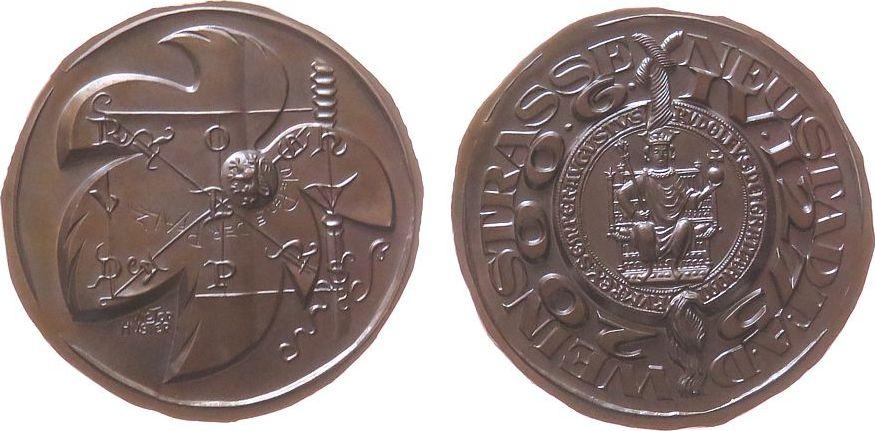 Medaille 2000 Städte Bronze Neustadt (Weinstraße) - die Perle der Pfalz, und 725 Jahre Stadtrechte, Rudolf von Habsburg sitzend mit Reichsinsignien i stgl