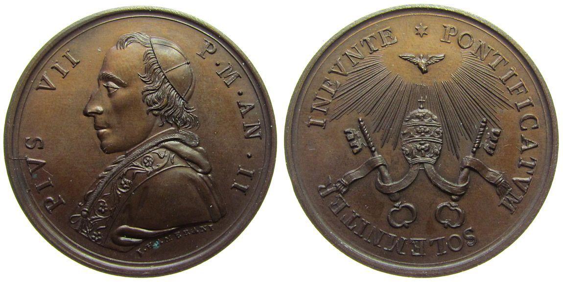 Medaille 1801 Vatikan Bronze Pius VII (1800-1823) - auf den Beginn seines Pontifikats, Büste nach links / Taube über Tiara und Schlüsseln, v. J. Hamer stgl-