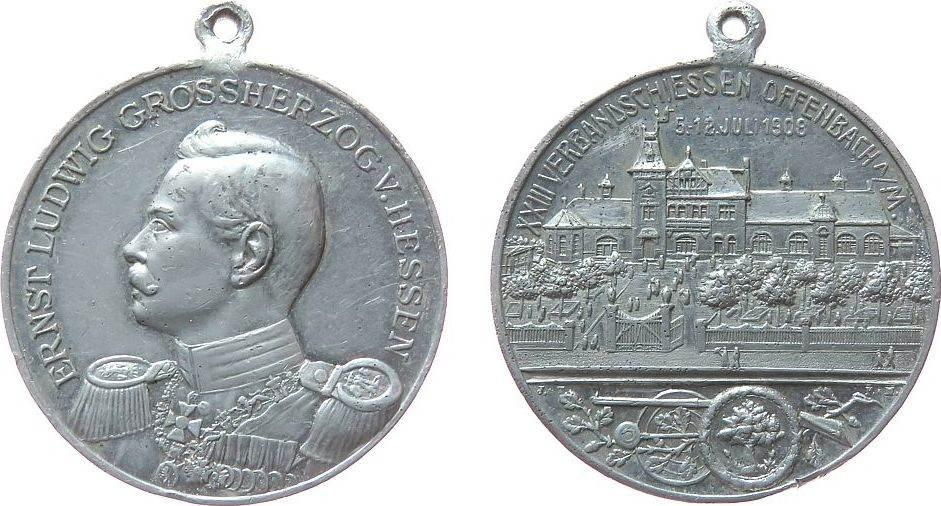 tragbare Medaille 1908 Schützen Aluminium Offenbach am Main - auf das 23. Verbandsschießen, Brustbild von Ernst Ludwig Großherzig von Hessen nach links / Schloß ss