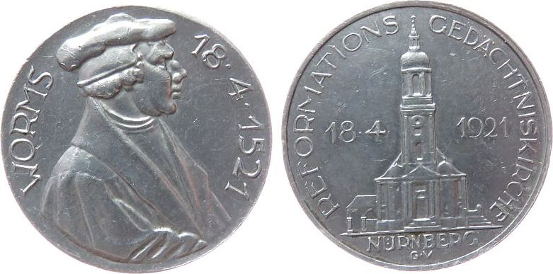 Medaille 1921 Reformation / Religion Aluminium Nürnberg, auf die Grundsteinlegung der Reformations-Gedächniskirche und die 4. Säkularfeier in Nürnberg, Brustbild Mar ss