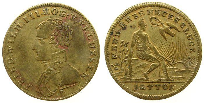 Jeton o.J. Jetons Messing Friedrich Wilhelm III (1797-1840), König von Preussen, neue Ehre neues Glück, v. Lauer, 24,4 MM ss-vz