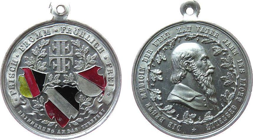 tragbare Medaille o.J. Sport Aluminium, teilemailliert Jahn - Erinnerung an das Turnfest, Büste nach rechts / teilemaillierte Wappen, v. J.&T. (Jörgum und Tr vz