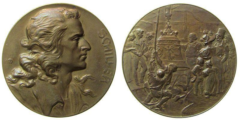 Medaille o.J. (1905) Personen Bronze Schiller Friedrich (1759-1805), Dichter, auf seinen 100. Todestag, Brustbild nach rechts / Hebung der Glocke Concordia, S vz-stgl