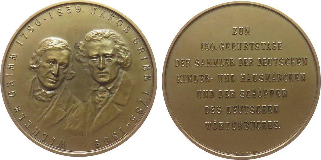 Medaille 1935 o.J. Märchen Bronze Grimm Jakob und Wilhelm - auf Ihren 150. Geburtstag, der Sammler deutscher Märchen und Schöpfer des deutschen Wörterbuche vz-stgl