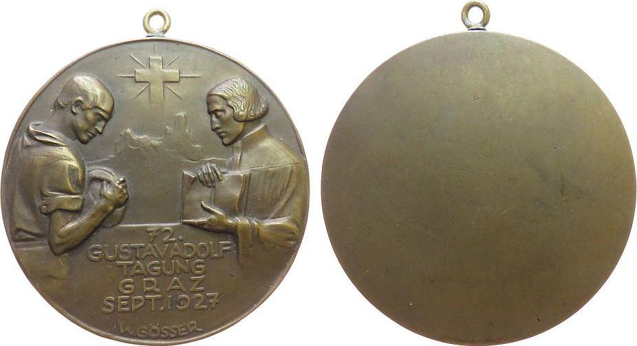 tragbare Medaille 1927 Religion Bronze auf die 72. Gustav Adolf Tagung, Mann mit Krug und Priester mit Buch, oben ein Kreuz, v. W. Gösser, einseitig, 60 MM, Sch vz