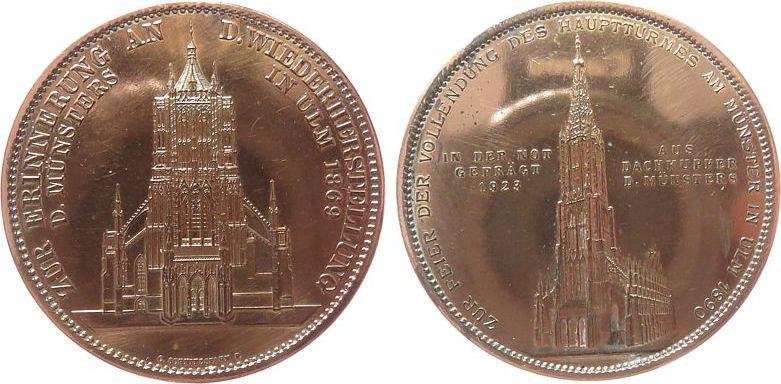 Medaille 1923 Ulm Bronze verkupfert Ulm, zur Erinnerung an die Wiederherstellung des Hauptturms des Münsters zu Ulm, v. C.Schnitzspann, 41,5 MM, 3 ss