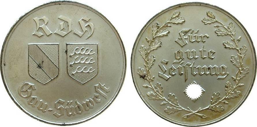 Medaille o.J. Drittes Reich Bronze versilbert für gute Leistung, vom Reichsbund für das Deutsche Hundeswesen (RDH) Gau Südwest, unsigniert, 45,1 MM, selten vz