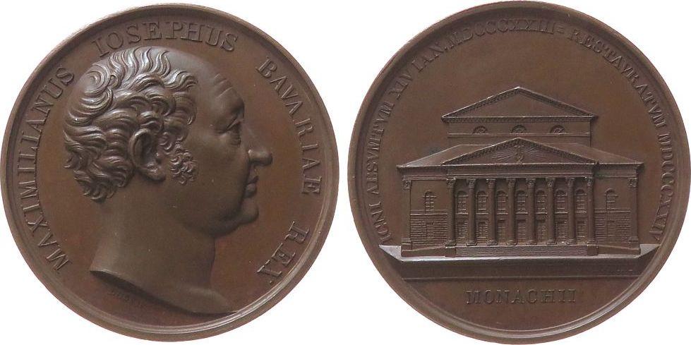 Medaille 1824 München Bronze Maximilian IV. (I.) Joseph (1799-1825) - auf das wiedererbaute Hof- und Nationaltheater in München, Bayern, Büste nach re vz-stgl