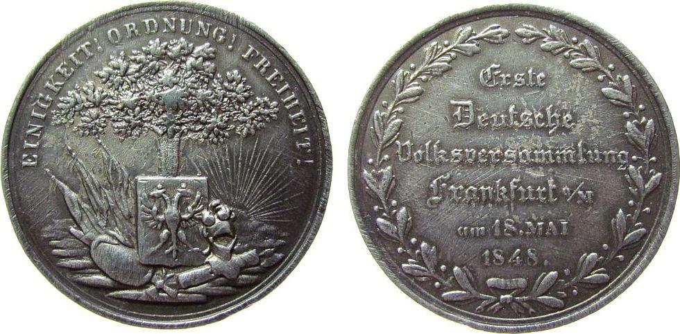 Medaille 1848 Frankfurt Zinnguß Frankfurt - auf die erste Deutsche Volksversammlung, Eiche über Wappen - Einigkeit, Ordnung, Freiheit / Mehrzeiler im Kr ss