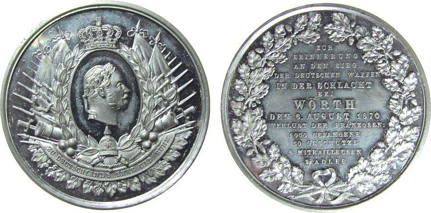 Medaille 1870 vor 1914 Zinn Wilhelm I (1797-1888) - z. Er. a. d. glorreichen Siege der Deutschen Waffen über die franz.Armee bei Wörth, belorbeerte Büs vz+