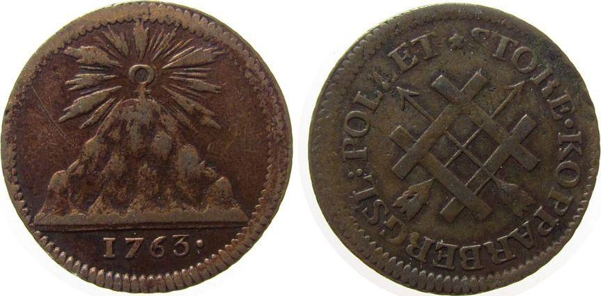 Token 1763 Schweden Bronze Falun - Store Kopparbergsl Pollet, Bergwerksmarke, Sonne über Berg / Umschrift - Gatter und Pfeile, ca. 29,5 MM ss