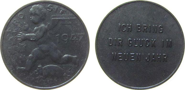 Jeton 1947 Österreich Zinn Ich bringe Glück im neuen Jahr, Knabe mit Flügeln und Schweinchen und 4-blättrigen Kleeblättern, ca. 23 MM vz