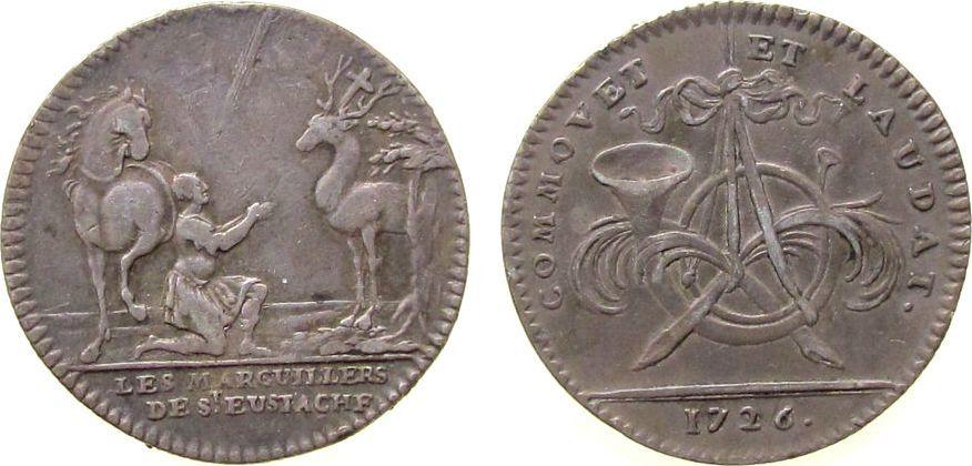 Jeton 1726 Frankreich Silber Louis XV - St. Eustache / Le miracle de St. Eustache, Les Marguillers de Saint Eustache, Posthorn / kniender Reiter (Jäg ss