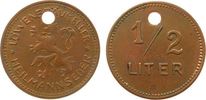 Biermarke o.J. Jetons Kupfer Heilmannseder Löwenbräukeller (München) - ½ Liter, runde Lochung, ca. 23 MM vz