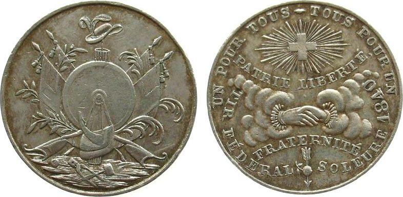 Jeton 1840 Schützen Kupfer versilbert Solothurn 1840, Tir fédérale Soleure, mittlerer Zweig 5 Blätter, Hutkrempe neigt sich nach hinten / links vom ss