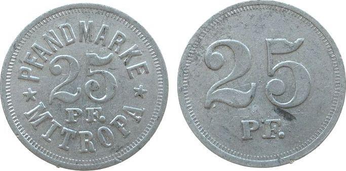 Pfandmarke o.J. Jetons Aluminium Mitropa (Berlin) 25 Pfennig, ca. 25 MM ss