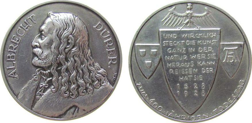 Medaille 1928 Personen Silber Dürer Albrecht (1471-1528) - auf seinen 400. Todestag, Brustbild nach links / Adler über drei Wappen, v. Kittler, ca. 36 vz