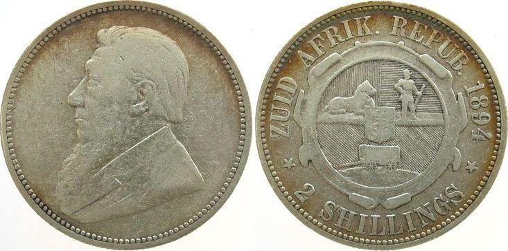 2 Shilling 1894 Südafrika Ag Paul Kruger, Zuid Afrikaansche Republik s / ss