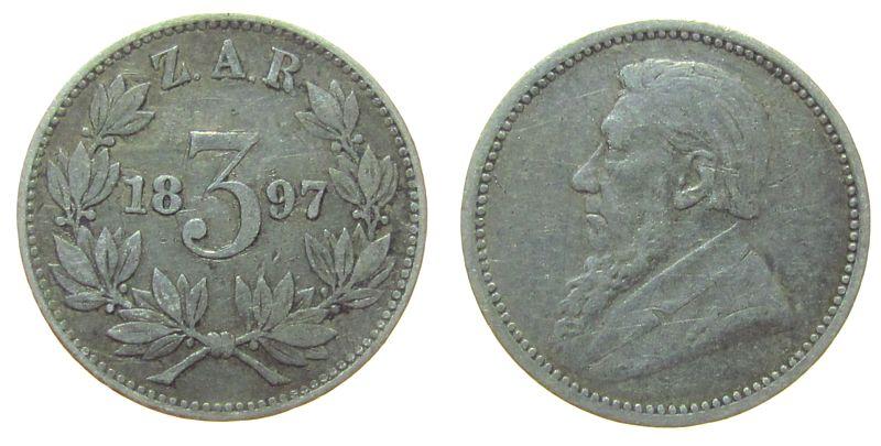 3 Pence 1897 Südafrika Ag Paul Kruger, Zuid Afrikaansche Republik ss