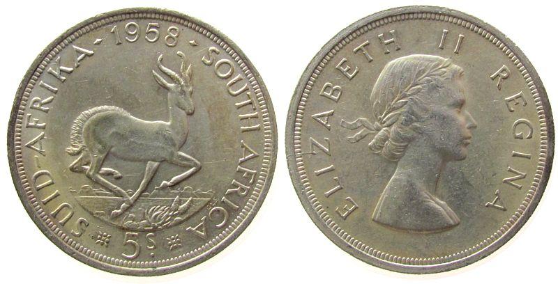 5 Shilling 1958 Südafrika Ag Elisabeth II, Springbock vz-unc