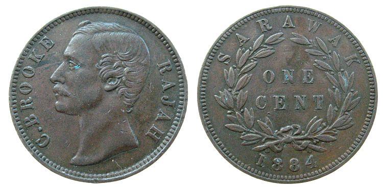 1 Cent 1884 Sarawak Ku C.Brooke ss-vz
