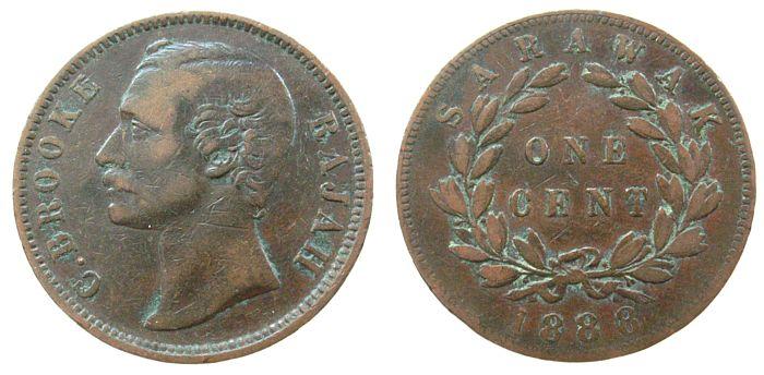 1 Cent 1888 Sarawak Ku C.Brooke ss-