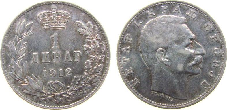 1 Dinar 1912 Jugoslawien Serbien Ag Peter I, Patina, einige wenige, feine Kratzer ss-vz