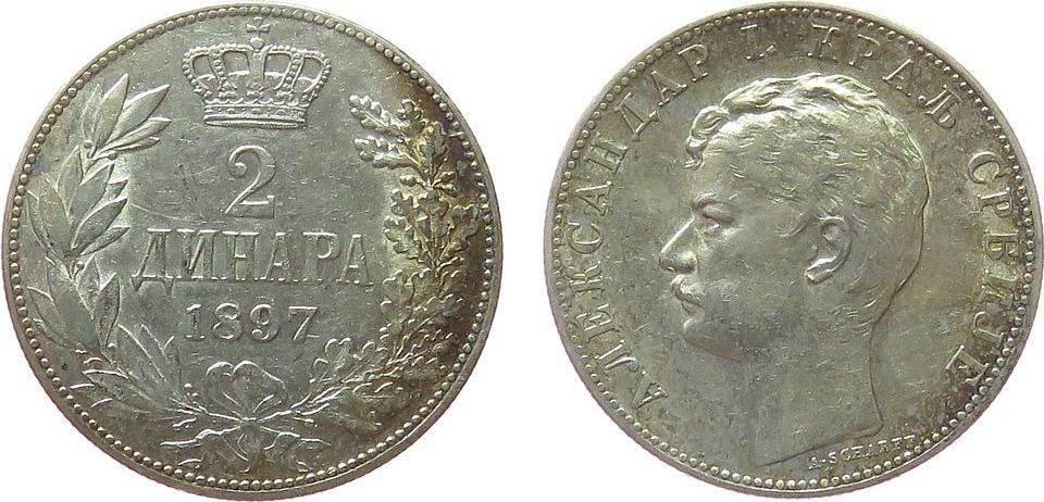 2 Dinara 1897 Jugoslawien Serbien Ag Alexander I vz