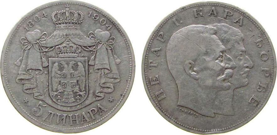 5 Dinara 1904 Jugoslawien Serbien Ag Peter I, 100. Jahrestag des Erhebung gegen die Türken, Randstoß ss