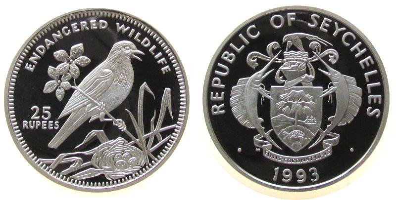 25 Rupien 1993 Seychellen Ag Seychellen - Dajaldrossel pp