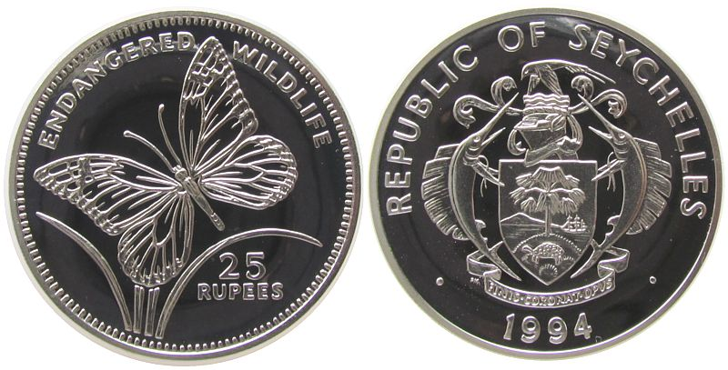 25 Rupien 1994 Seychellen Ag Seychellen - Schwalbenwurzfalter pp