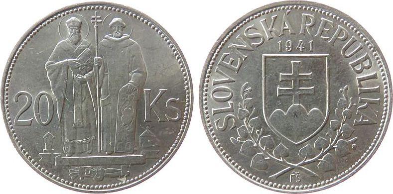 20 Koruna 1941 Slowakei Ag einfaches Kreuz unz