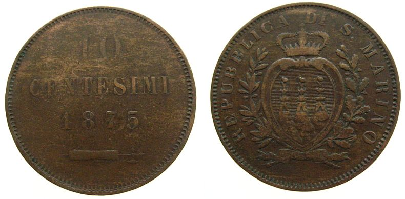 10 Centesimi 1875 San Marino Ku . ss-