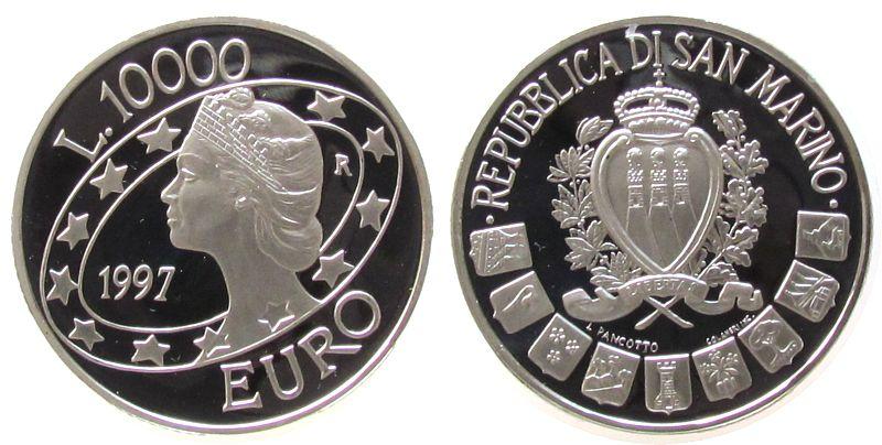 10000 Lire 1997 San Marino Ag San Marino in Europa pp