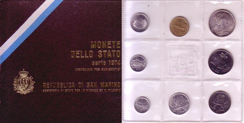 688 Lire 1974 San Marino div. Org.Kursmünzensatz, 8 Mz, KM30-37, OVP unz