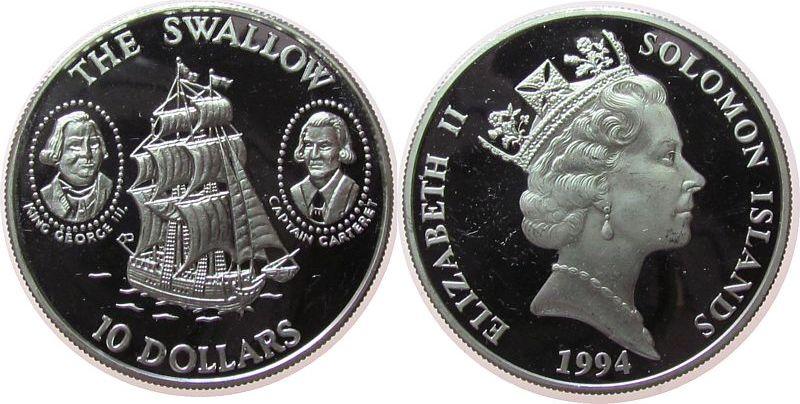 10 Dollar 1994 Salomonen Ag Segelschiff Swallow, König George III und Kapitän Carteret, feine Kratzer pp-