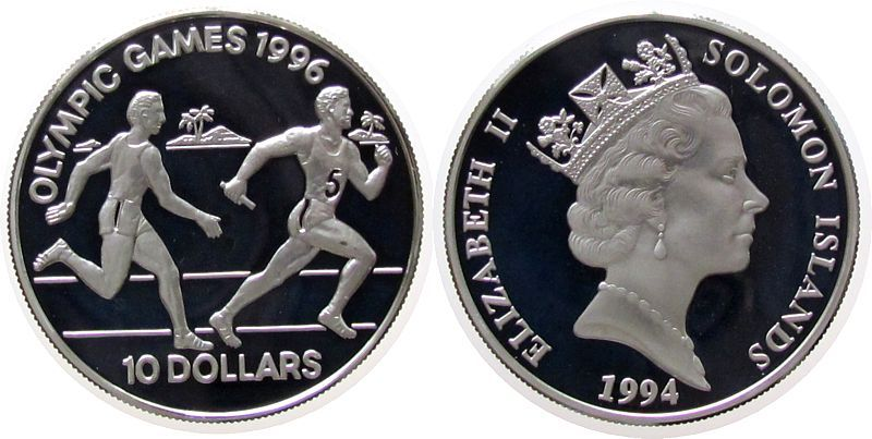 10 Dollar 1994 Salomonen Ag Olympiade Staffellauf pp