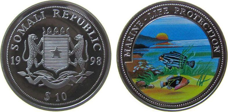 10 Shilling 1998 Somalia Republik KN Meeresfauna, Farbmünze pp