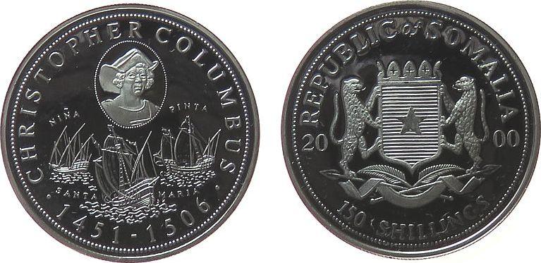 150 Shilling 2000 Somalia Republik Ag Kolumbus, einige Handlingsmarken pp
